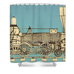 19th Century Locomotive Shower Curtain by Omikron