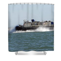 A Landing Craft Air Cushion Prepares Shower Curtain by Stocktrek Images
