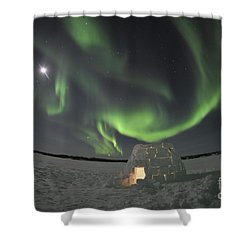 Aurora Borealis Over An Igloo On Walsh Shower Curtain by Jiri Hermann