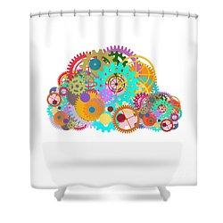 Gears Wheels Design  Shower Curtain by Setsiri Silapasuwanchai