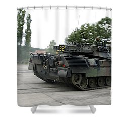 The Leopard 1a5 Of The Belgian Army Shower Curtain by Luc De Jaeger
