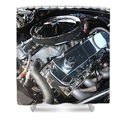 67 Black Camaro Ss 396 Engine-8033 Shower Curtain by Gary Gingrich Galleries