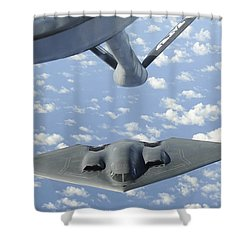 A B-2 Spirit Approaches The Refueling Shower Curtain by Stocktrek Images