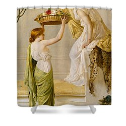 A Basket Of Roses - Grecian Girls Shower Curtain by Henry Thomas Schaefer