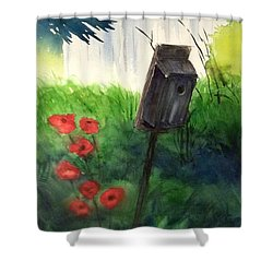 Shower Curtain featuring the painting A Bird House In The Geddes Farm --ann Arbor Michigan by Yoshiko Mishina