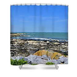 A Blue Skerries Sky Shower Curtain by Martina Fagan