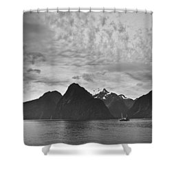 A Boat In The Water Along The Coast Shower Curtain by David DuChemin