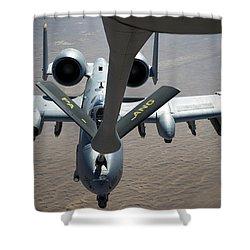 A Boom Operator Refuels An A-10 Shower Curtain by Stocktrek Images
