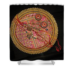 A Bowl Of Rakhis In A Decorated Dish Shower Curtain by Ashish Agarwal