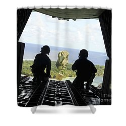 A Box Of Humanitarian Goods Travels Shower Curtain by Stocktrek Images