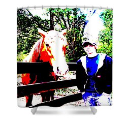 Shower Curtain featuring the photograph a Boy and his Horse by George Pedro