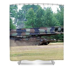A Bridgelayer In Use By The Belgium Shower Curtain by Luc De Jaeger
