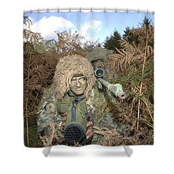 A British Army Sniper Team Dressed Shower Curtain by Andrew Chittock