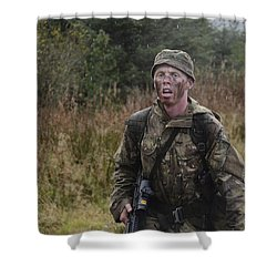 A British Soldier During Exercise Shower Curtain by Andrew Chittock