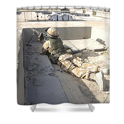 A British Soldier Provides Security Shower Curtain by Andrew Chittock