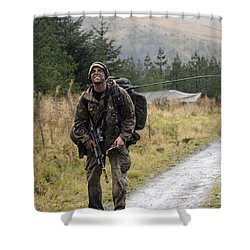 A British Soldier With Radio Shower Curtain by Andrew Chittock