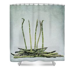 A Bunch Of Asparagus Shower Curtain by Priska Wettstein