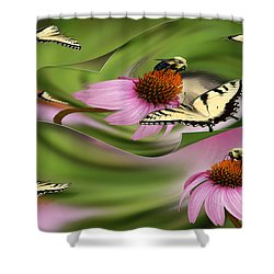A Busy Garden Shower Curtain