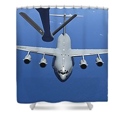A C-17 Globemaster IIi Approaches Shower Curtain by Stocktrek Images