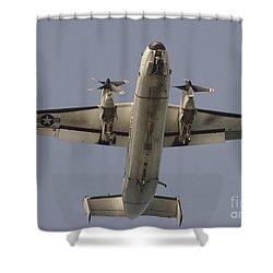 A C-2 Greyhound In Flight Shower Curtain by Stocktrek Images
