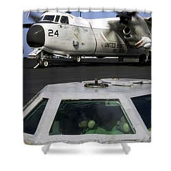 A C-2a Greyhound Prepares For Launch Shower Curtain by Stocktrek Images