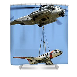 A Ch-53 Sea Stallion Lifts A Hu-25 Shower Curtain by Stocktrek Images