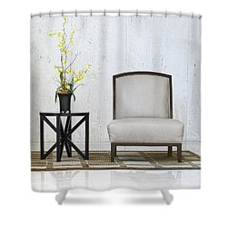 A Chair And A Table With A Plant  Shower Curtain