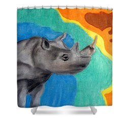 A Cheerful Rhino Shower Curtain