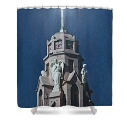 A Church Tower Shower Curtain