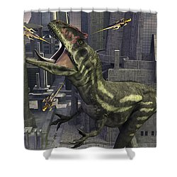 A Cloned Allosaurus Being Sedated Shower Curtain by Mark Stevenson