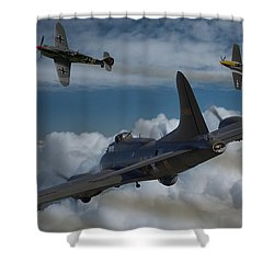 A Close Encounter Shower Curtain by Ken Brannen