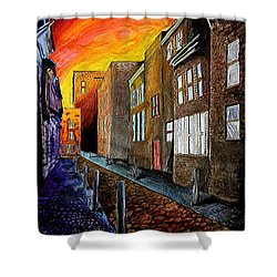 Shower Curtain featuring the mixed media A Cobbled Street by eVol  i