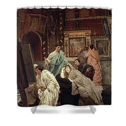 A Collector Of Pictures At The Time Of Augustus Shower Curtain by Sir Lawrence Alma-Tadema