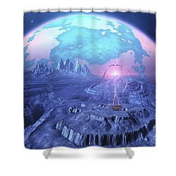 A Colony On An Alien Moon Shower Curtain by Corey Ford