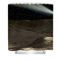 A Comet Passes Over The Surface Shower Curtain by Ron Miller