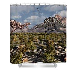 A Confrontation Between A T. Rex Shower Curtain by Mark Stevenson
