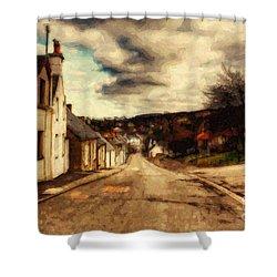 A Cotswold Village Shower Curtain by Lianne Schneider
