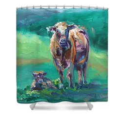 A Cow And Her Calf Shower Curtain by Donna Tuten