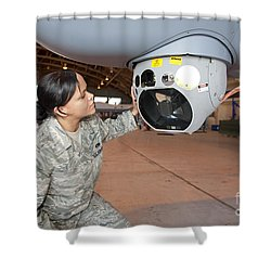 A Crew Chief Works On Mq-9 Reapers Shower Curtain by HIGH-G Productions