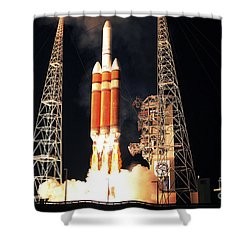 A Delta Iv Heavy Rocket Lifts Off Shower Curtain by Stocktrek Images