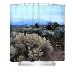 A Desert View After Sunset Shower Curtain