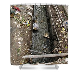 A Dirty Drain With Filth All Around It Representing A Health Risk Shower Curtain by Ashish Agarwal