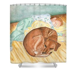 A Dog And Her Boy Shower Curtain