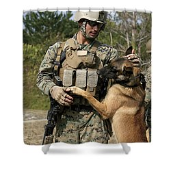 A Dog Handler Gives Positive Shower Curtain by Stocktrek Images