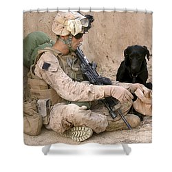 A Dog Handler Gives Water To His Dog Shower Curtain by Stocktrek Images