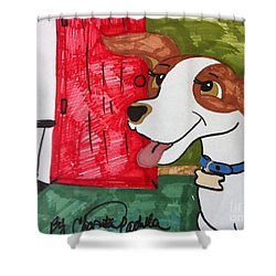 A Dog Is Heading Out The Door. Shower Curtain