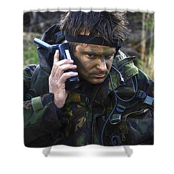 A Dutch Patrol Commander Communicates Shower Curtain by Andrew Chittock