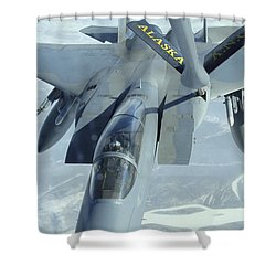 A F-15 Eagle Receives Fuel Shower Curtain by Stocktrek Images