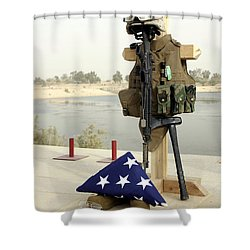 A Fallen Soldiers Gear Display Shower Curtain by Stocktrek Images