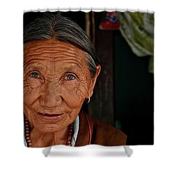 A Few Lifelines Shower Curtain by Valerie Rosen